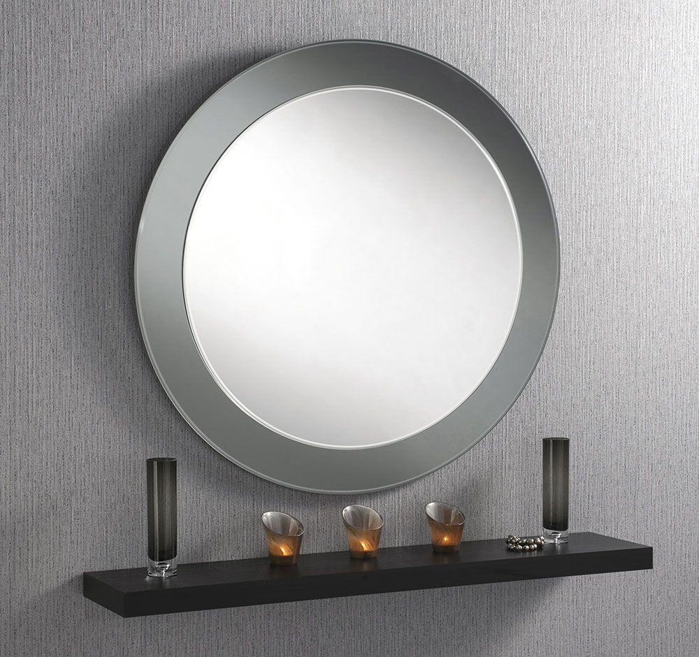 UK hand made - Smoked Grey & Silver Bevelled MIrror 46