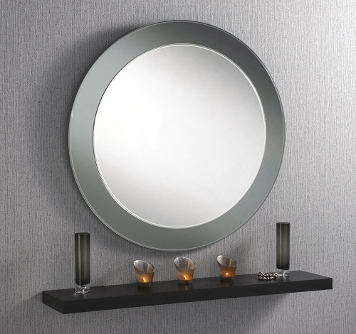 Large Round Smoked Grey Amp Silver Bevelled Mirror 40 Quot Dia
