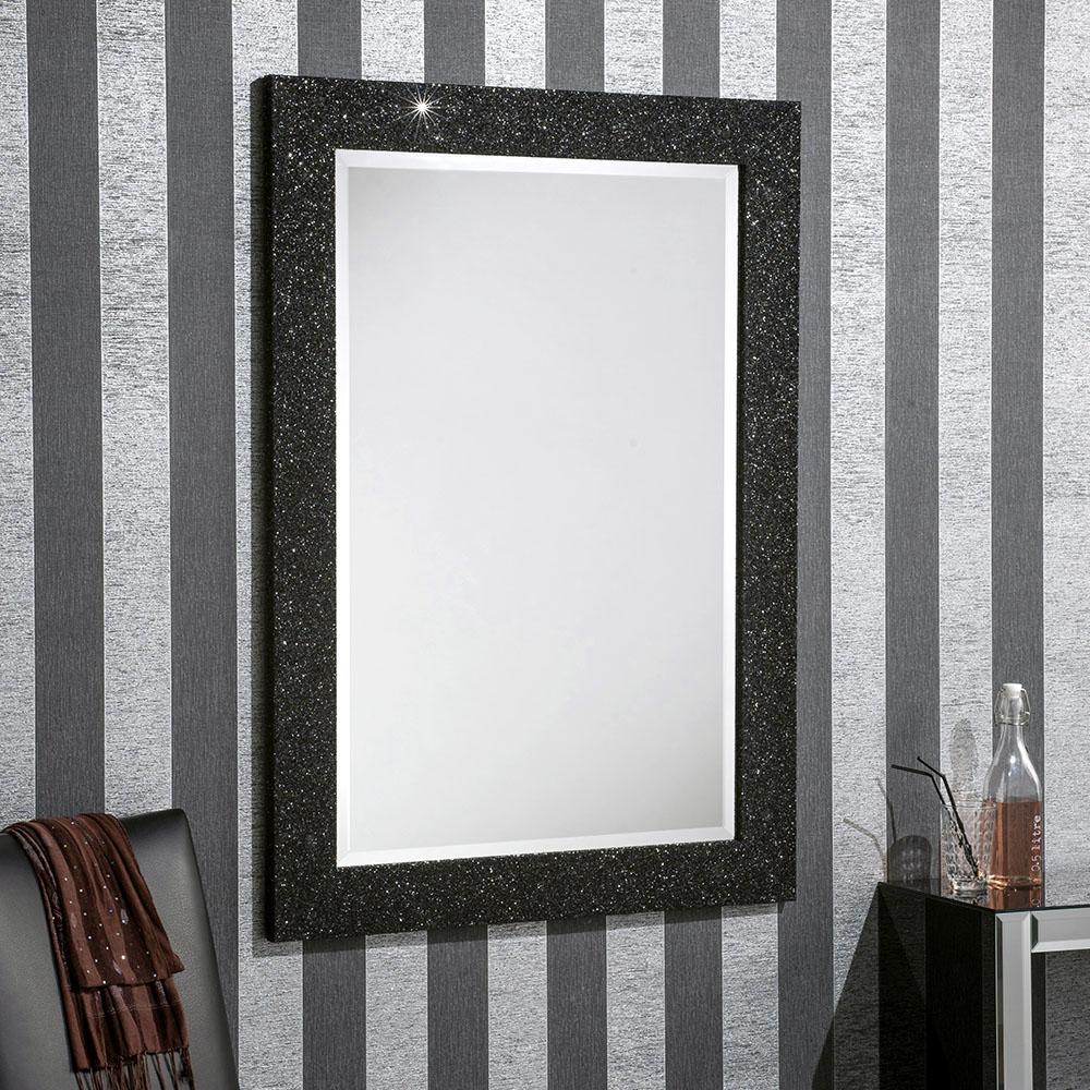 Sparkle Glitter Frame Bevelled Mirror in Black
