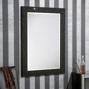 Sparkle Glitter Frame Bevelled Mirror in Black - 4 sizes available