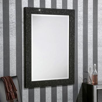 Sparkle Glitter Frame Bevelled Mirror in Black - 4 sizes available