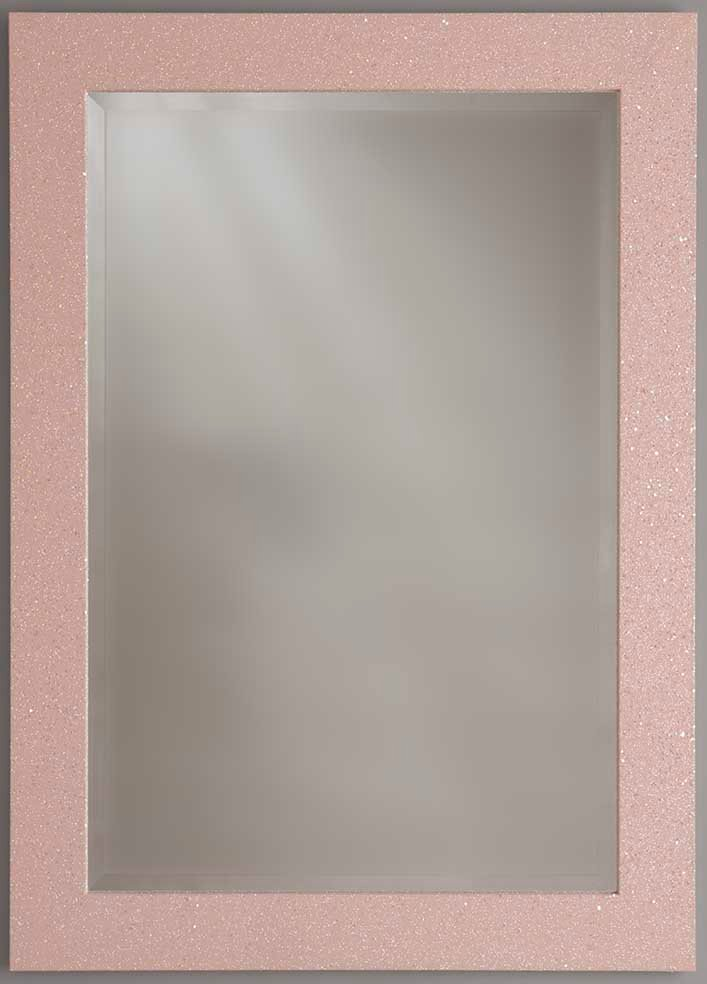 Sparkle Glitter Frame Bevelled Mirror in Pink