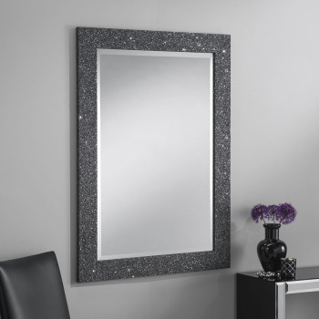 Sparkle Glitter Frame Bevelled Mirror in Grey - 4 sizes available