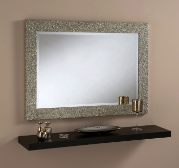 Sparkle Glitter Frame Bevelled Mirror in Gold - 3 sizes available