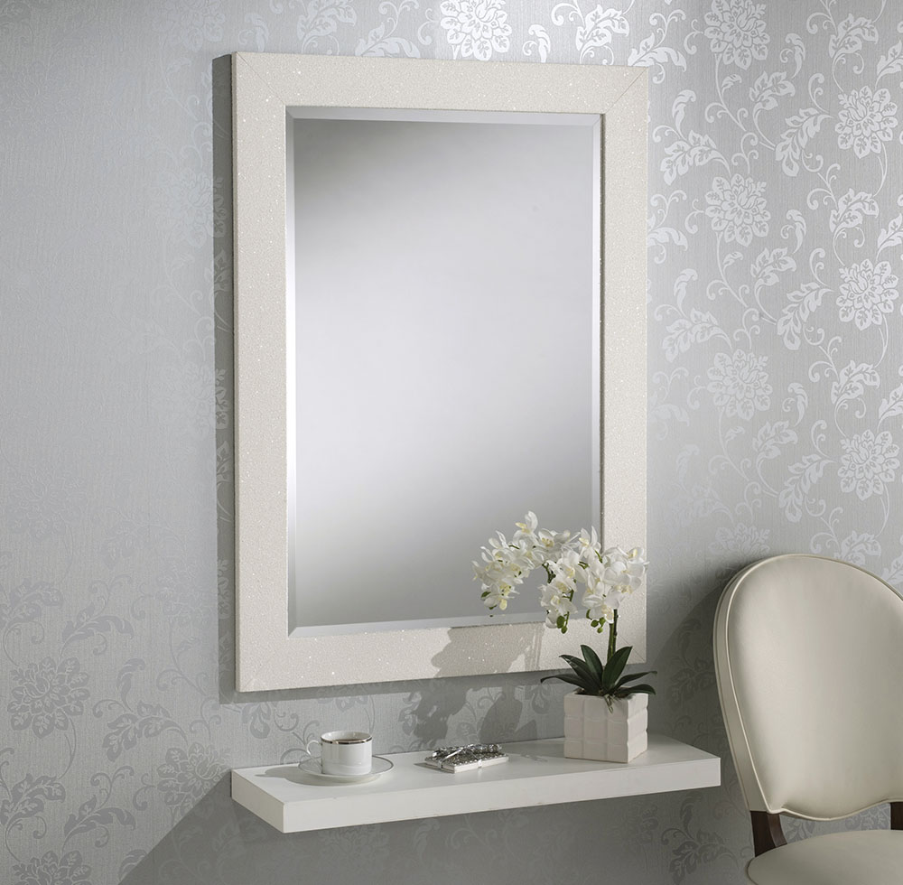 Sparkle Glitter Frame Bevelled Mirror in White