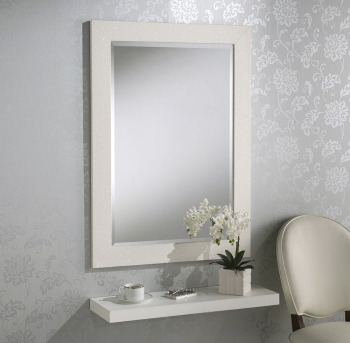 Sparkle Glitter Frame Bevelled Mirror in White - 3 sizes available