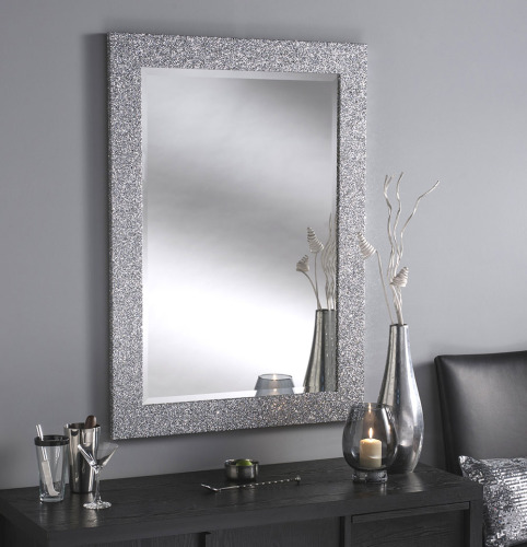 Sparkle Glitter Frame Bevelled Mirror in Silver