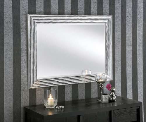 Silver Ripple Framed Wall Mirror Hand Made Here In The Uk