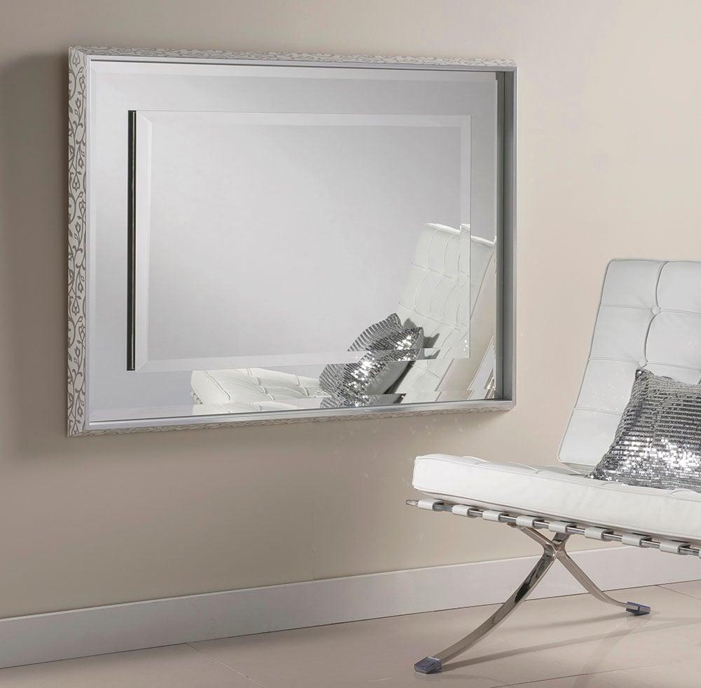 Glamour Chic Framed Bevelled Mirror Beige Swirl Frame - 2 sizes