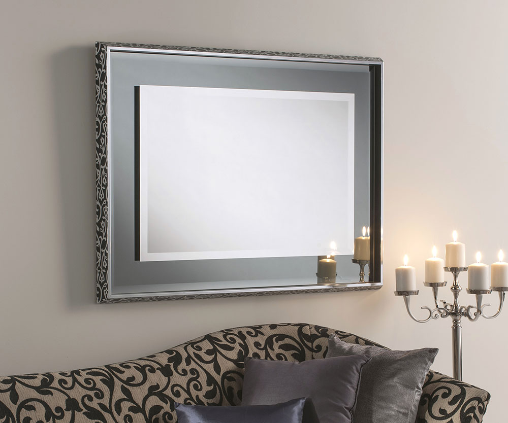 Glamour Chic Framed Bevelled Mirror Grey Swirl Frame - 2 sizes