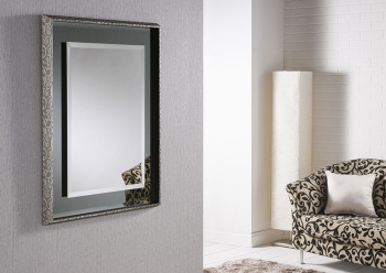 Glamour Chic Framed Bevelled Mirror Black / Grey  Swirl Frame - 2 sizes