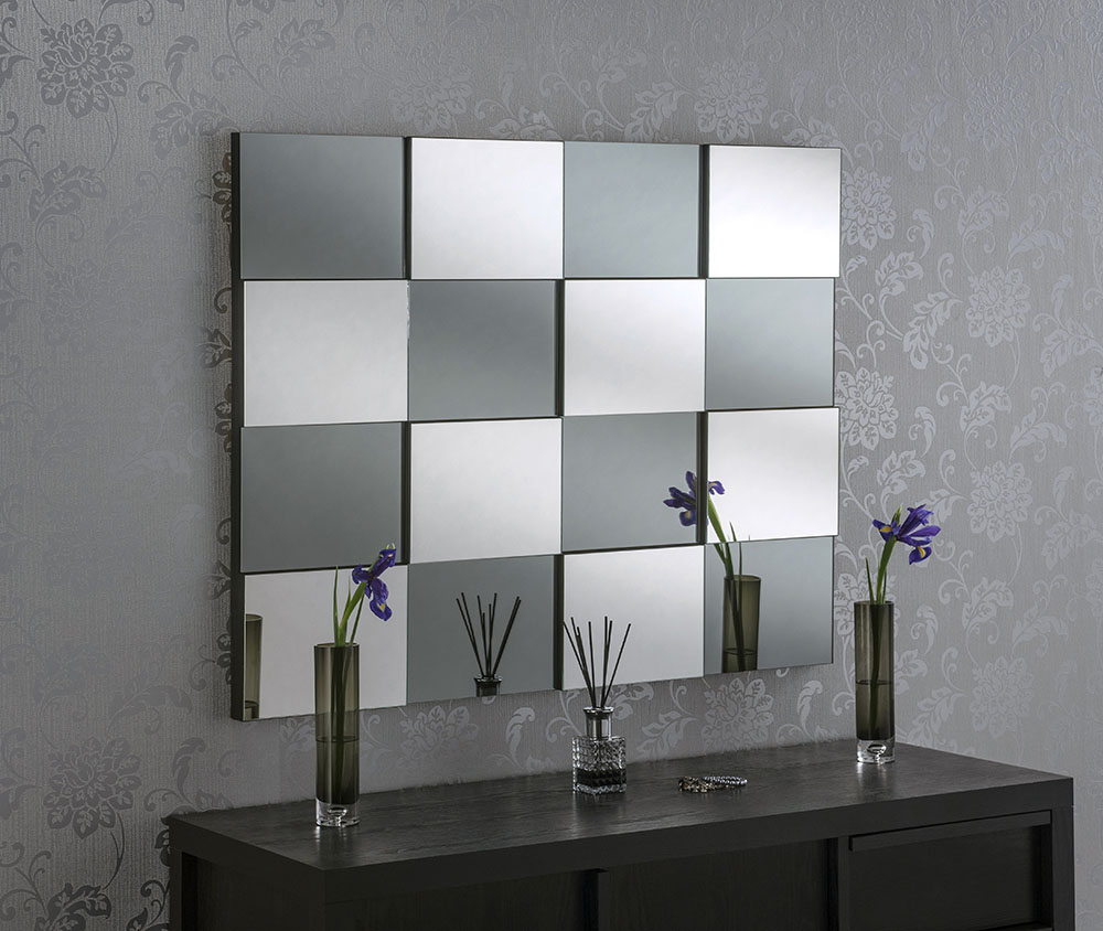 Multi Faceted Blocks Smoked Grey & Silver Bevelled MIrror 40