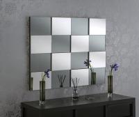 "Multi Facet Blocks Silver Bevelled MIrror 40"" x 32"""