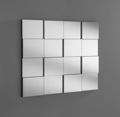 Multi Faceted Blocks Silver Bevelled MIrror 40