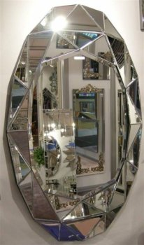 Multi Facet Prism Oval Silver Bevelled Mirror 120cm x 75cm