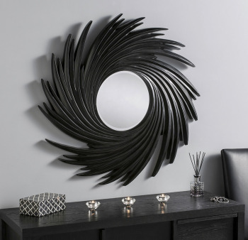 "Swirl Round Black Framed Mirror 38"" Dia"