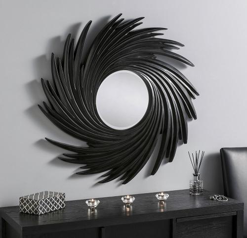 Espri Round Spires Black Framed Mirror