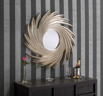 "Swirl Round Champagne Silver Framed Mirror 38"" Dia"