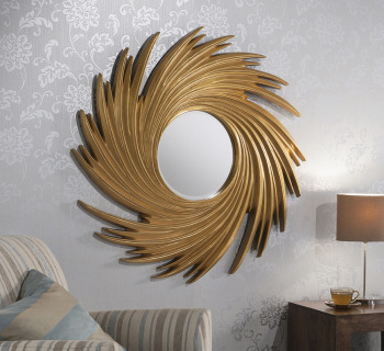 "Swirl Round Gold Framed Mirror 38"" Dia"