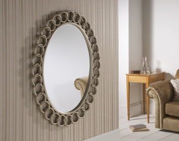 "Chainlink Round Brushed Silver Framed Mirror 51"" x 40"""