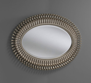 "Alexa Silver Framed Oval Mirror 33"" x 44"""