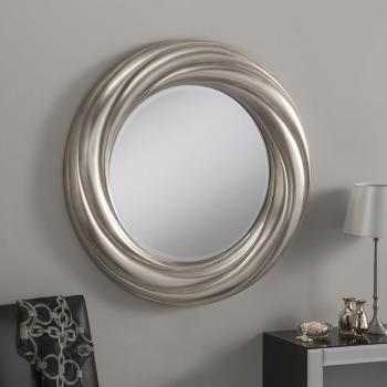 "Elisa Round Silver Framed Mirror 33"" Dia"