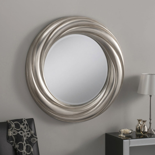 Elisa round framed contemporary mirror in silver finish 33 for Silver framed mirrors on sale