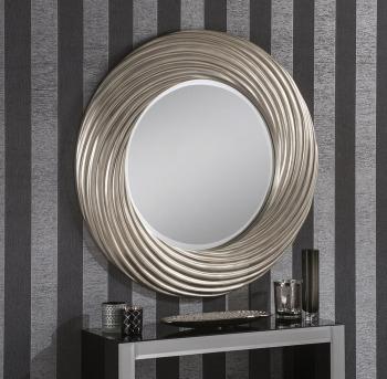 "Elisa Round Silver Framed Mirror 36"" Dia"