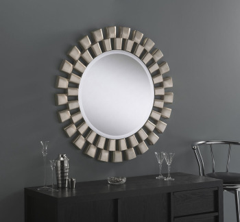 Esther Round Silver Framed Mirror 36""