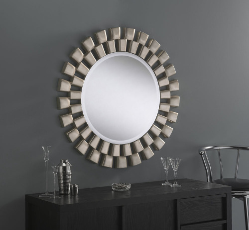 Esther Round Silver Framed Mirror 36 Quot