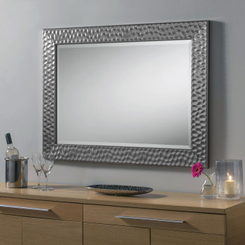 "Grey Metalic Framed decorative Mirror 43"" x 31"""