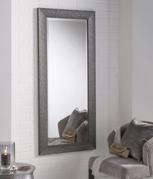 "Textured Grey Designer Framed Mirror 42"" x 30"""