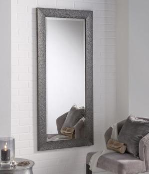 Textured Grey Designer Framed Mirror - various sizes available - Biritsh Made item