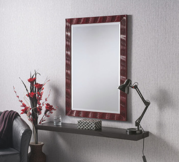 "Elvia Red Gloss Framed Mirror 41"" x 29"""