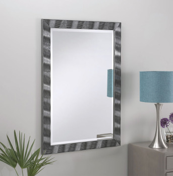 "Elvia Grey Gloss Framed Mirror 41"" x 29"""
