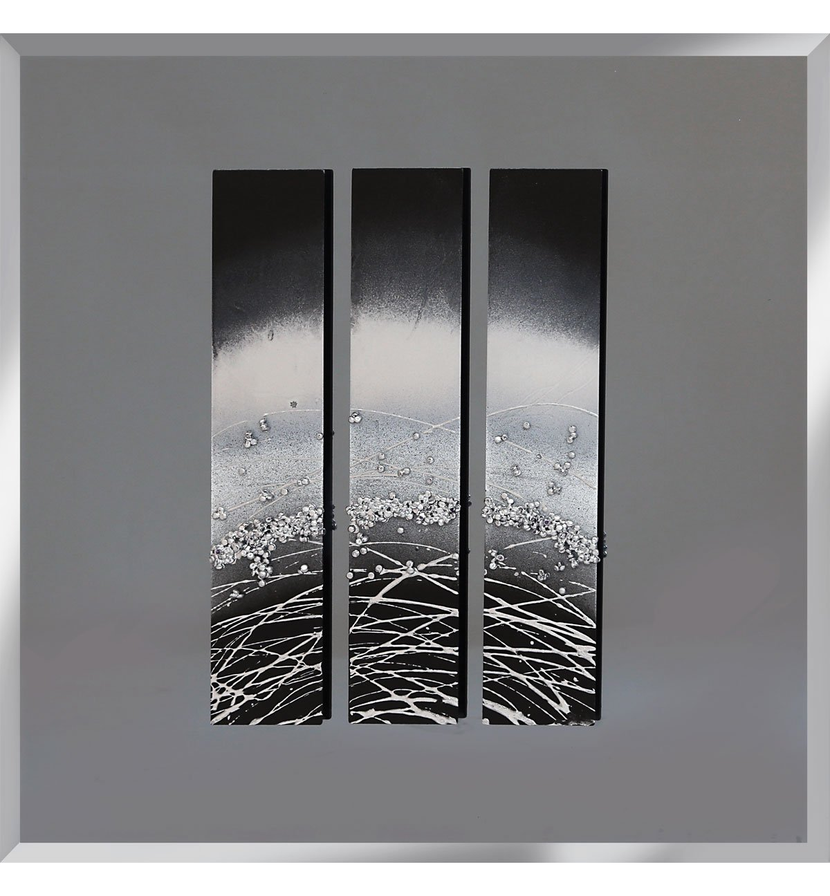 Abstract triptych smoked grey mirrored wall art 75cm x 75cm for Mirror wall art