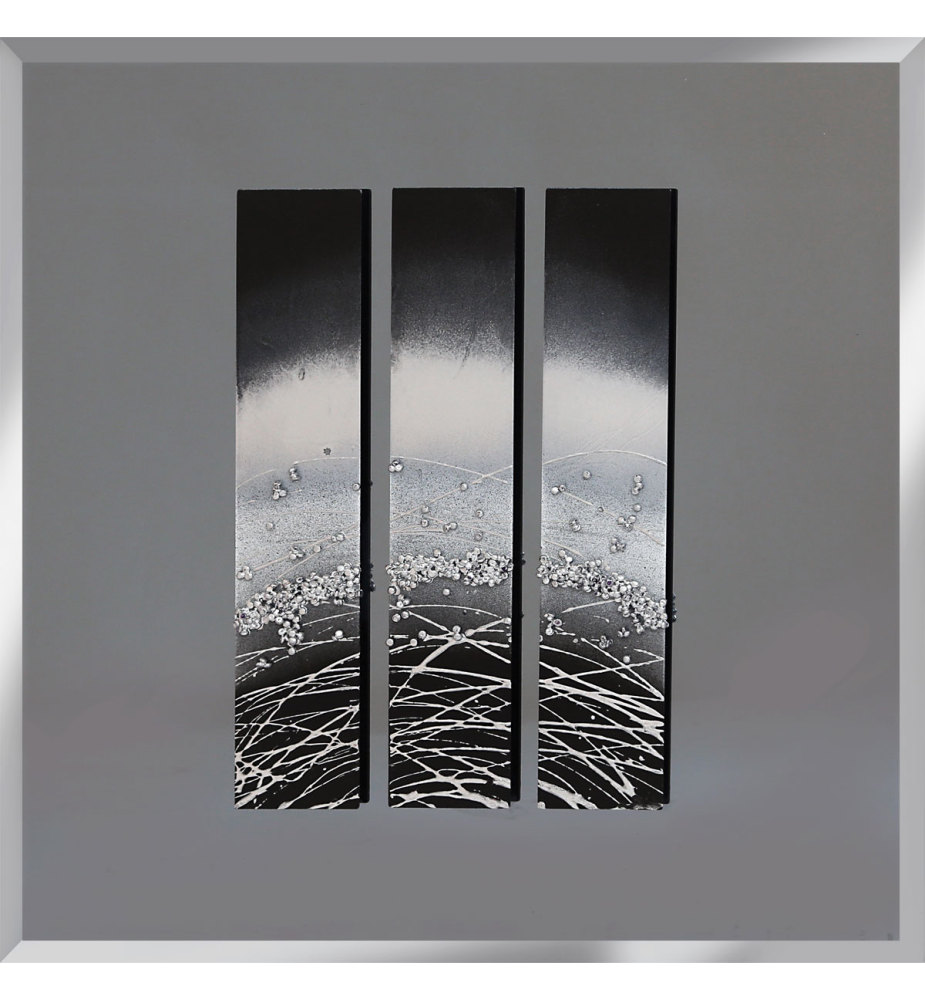 Abstract Triptych Smoked Grey Mirrored Wall Art 75cm x 75cm