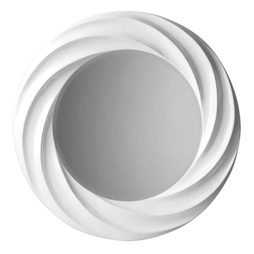Swirl Gloss White Framed Mirror 89cm Dia
