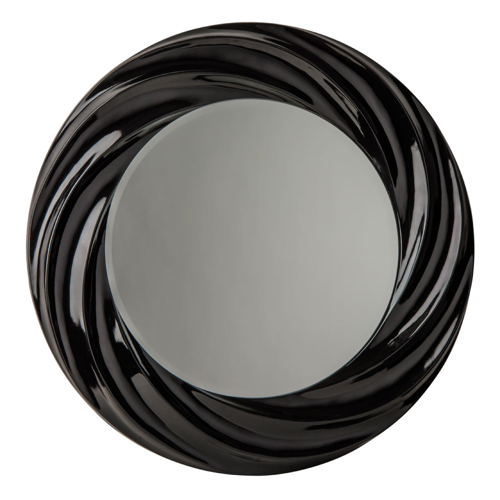 Swirl Gloss Black Framed Mirror 89cm Dia