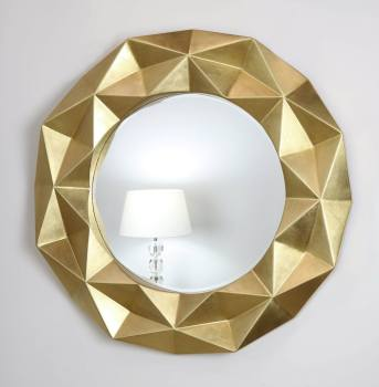 Chelsea Faceted Framed Mirror in Gloss Gold 79cm Dia