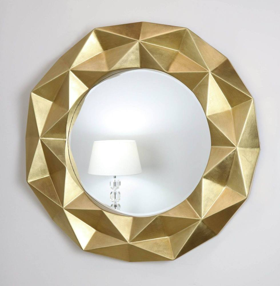 Chelsea Faceted Framed Mirror in Gloss Gold
