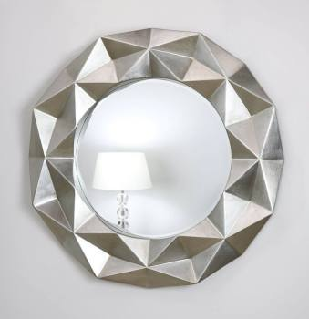 Chelsea Faceted Framed Mirror in Gloss Silver 79cm Dia