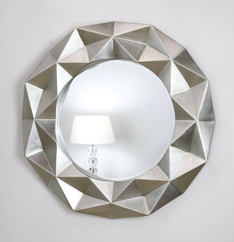 Chelsea Faceted Framed Mirror in Gloss Silver
