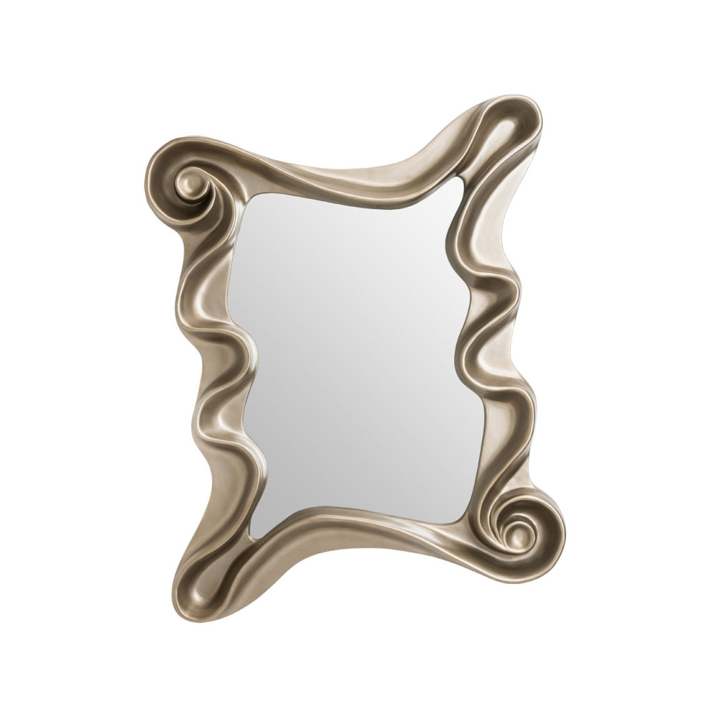 Swirl Framed Rectangular Mirror in Gloss Champagne Silver 122cm x 100cm
