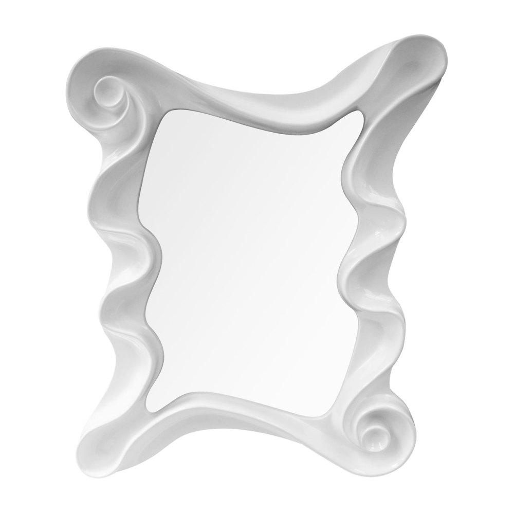 Swirl Framed Rectangular Mirror in Gloss White 122cm x 100cm