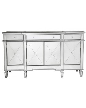 Beaumont 3 draw / 4 Door Mirrored Sideboard with Silver Trim