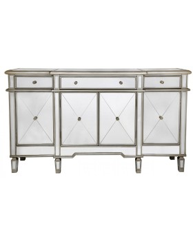 Beaumont 3 draw / 4 Door Mirrored Sideboard with Gold Trim
