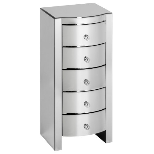 Mirrored Curved 5 Draw Chest