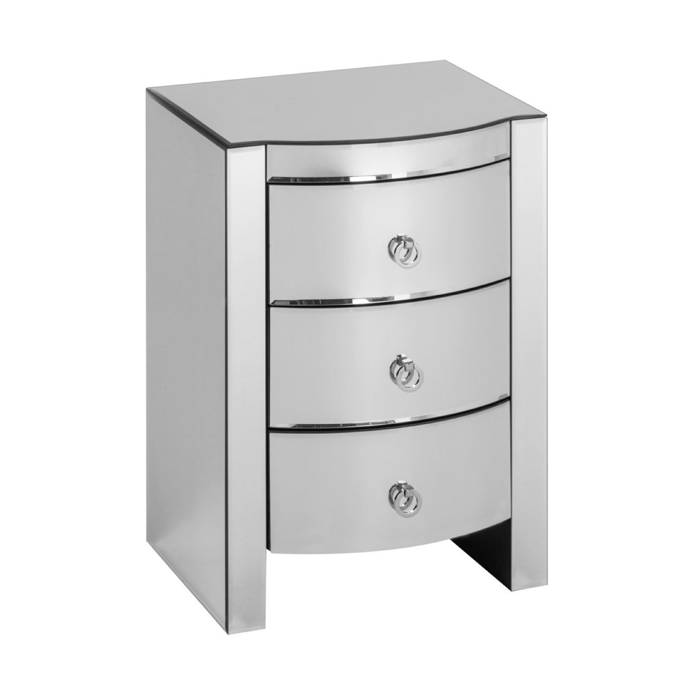 Mirrored Curved 3 Draw Chest