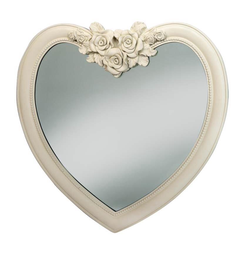 Heart Shaped Mirror in Cream / Ivory